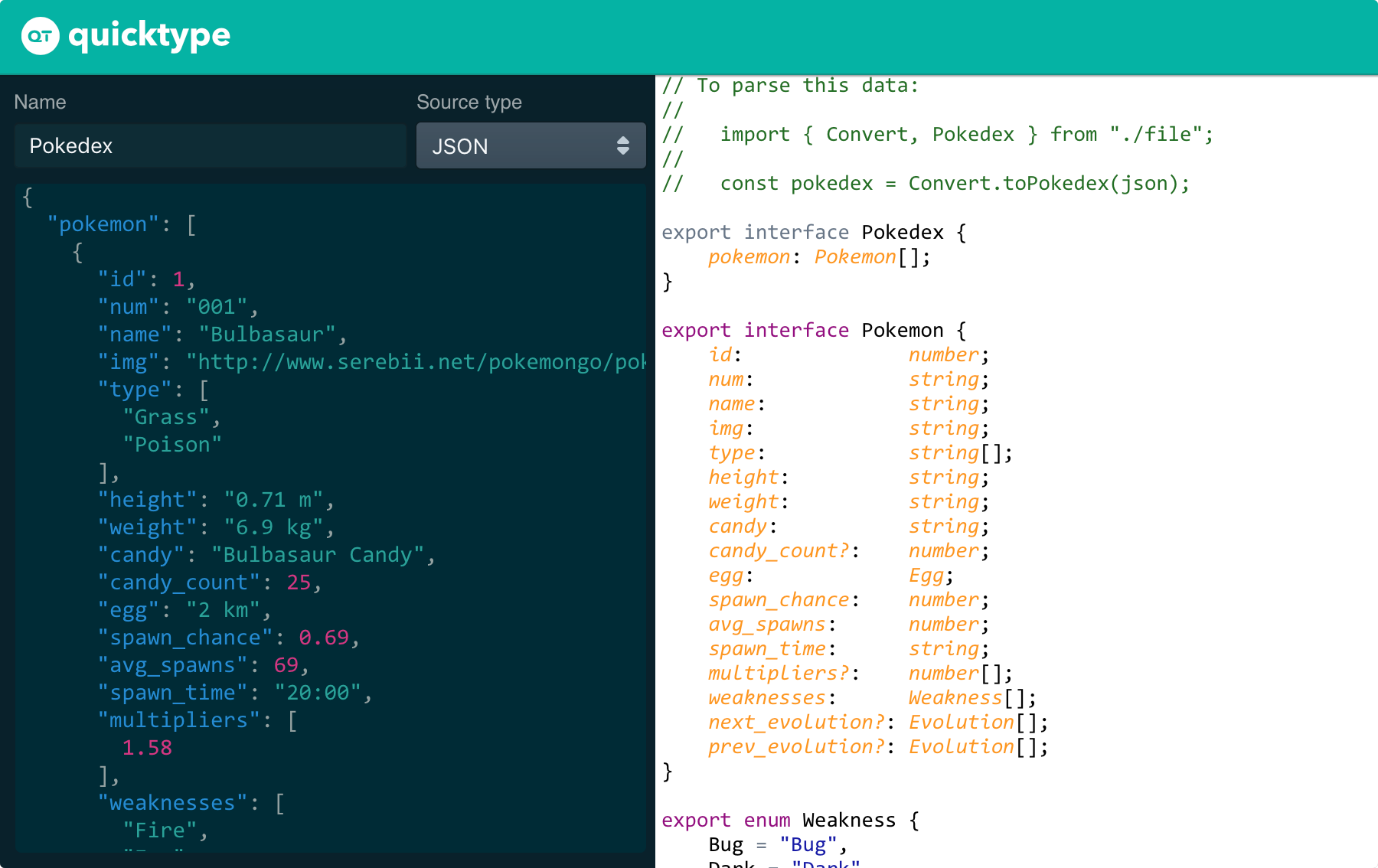 quicktype's web app translates sample JSON to types and marshaling code